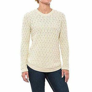 Jeanne Pierre Cream Cable Knit Crew Neck Sweater